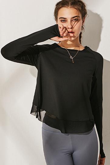 Bluza sport super-soft V-Back Black
