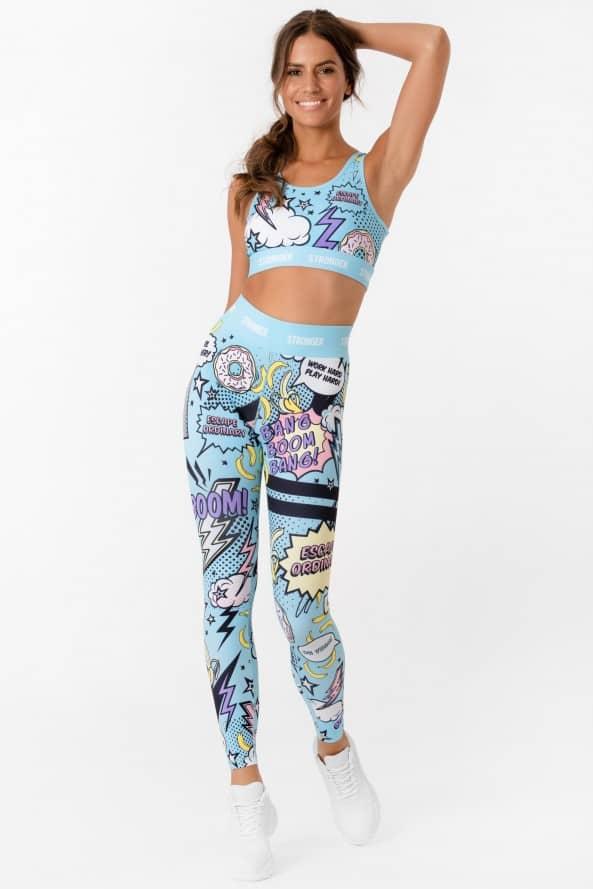 Costum fitness doua piese bleu Pop-Art