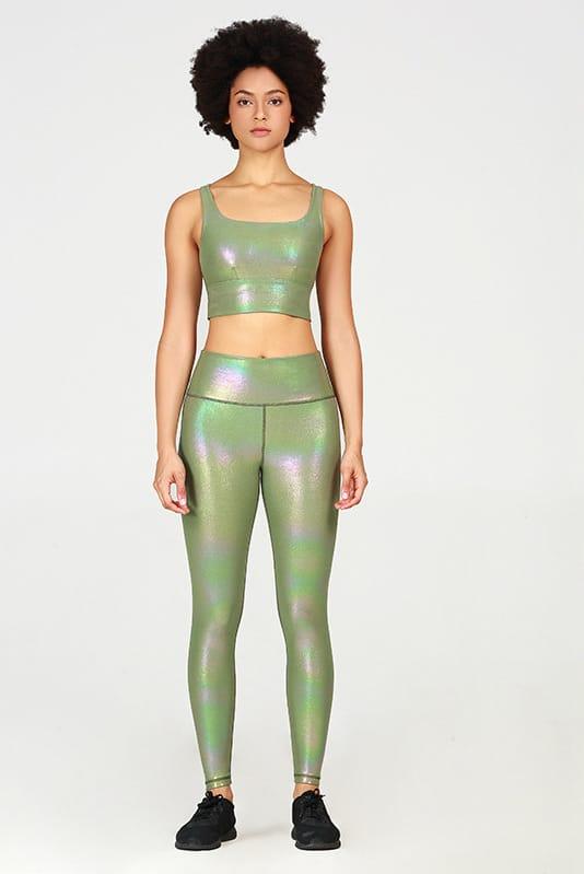 Costum sport doua piese WET LOOK Shiny Green