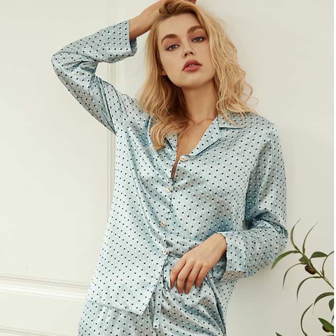 Pijama 2 piese satinata NIGHTWEAR Mint Dream