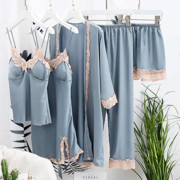Set 5 piese lenjerie de dormit satinata NIGHTWEAR Blu Grey